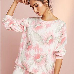 Anthropologie Floral Fleece Sweatshirt